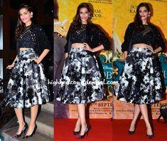 Sonam Kapoor In Dior, Urvashi Joneja, DRVV And Prerto At Khoobsurat's Music Launch-1 Skirt+Crop top+Biker jacket