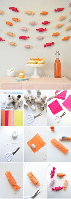DIY candy garland - tutorial at Oh Happy Day ------ Candy Garland can use it for Fix it felix birthday party (Candyland area) Candy Themed Party, Candy Land Theme, Party Themes, Ideas Party, Theme Ideas, Candy Land Christmas, Christmas Crafts, Christmas Tree, White Christmas