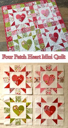 Four Patch Heart Mini Quilt Free Tutorial designed by Amanda Niederhauser for Therm-o-web Patchwork Heart, Patchwork Quilting, Applique Quilts, Heart Quilts, Quilt Stitching, Patch Quilt, Heart Quilt Pattern, Mini Quilt Patterns, Heart Patterns