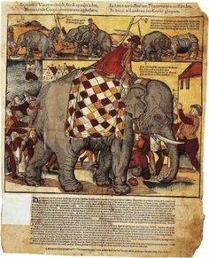 Tract relatant la visite de l'éléphant à Anvers, gravure sur bois coloriée de Jan Mollijns, Antwerpen [1563], conservée au British Museum