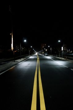 Vassar Street at night near MIT