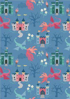 Dragons, Lewis & Irene | Dragon Castle on Light Blue | Empress Mills