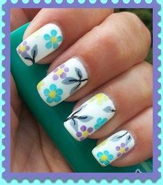 Flower nails by jsi1973 - Nail Art Gallery nailartgallery.nailsmag.com by Nails Magazine www.nailsmag.com #nailart