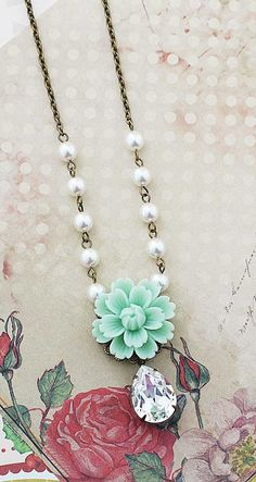 Vintage Style Mint Sakura Flower with Swarovski Pearls Bridal Necklace from EarringsNation Mint Weddings Vintage Style Weddings Bridesmaid Gift