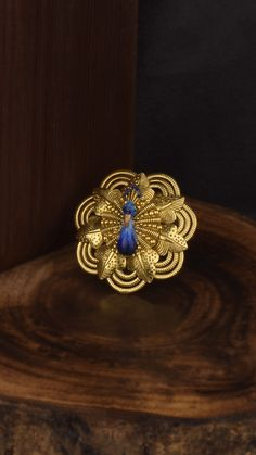 Vivid blues accentuate the handcrafted peacock ring in gold Gold Ring Designs, Gold Earrings Designs, Bridal Bangles, Bridal Bracelet, Ladies Finger Ring, Light Weight Gold Jewellery, Pendant Jewelry, Gold Jewelry, Peacock Ring