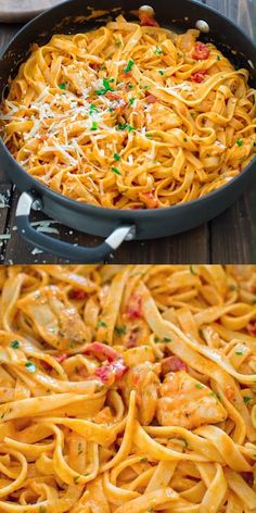 CHICKEN FETTUCCINE This elegant and creamy Pasta with Chicken and Roasted Pepper Sauce is made in under 30 minutes and requires just 6 ingredients. Your guests and family members will love it! Make this easy pasta dinner today! Easy Dinner Recipes, Easy Meals, Easy Snacks, Dinner Recipe For 6, Dessert Recipes, Chicken Fettuccine, Chicken Alfredo, Penne Alfredo, Pasta Fettucine