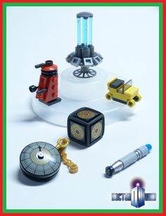 1/4 of a fictional Doctor Who Advent Calendar.  Built for the Brickset competition.  Seen above: - TARDIS console - Dalek - the Third Doctor's car - Pandorica - Fob Watch - the ninth/tenth Doctor's sonic screwdriver