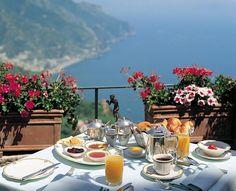 Nadire Atas on Dining Al Fresco Palazzo Avino on the Amalfi Coast Romantic Destinations, Romantic Places, Romantic Travel, Beautiful Places, Honeymoon Destinations, Romantic Breakfast, Hotel Breakfast, Morning Breakfast, Sorrento