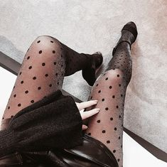 Uploaded by Jei Rose. Find images and videos about fashion and style on We Heart It - the app to get lost in what you love. 90s Fashion, Love Fashion, Fashion Beauty, Fashion Outfits, Polka Dot Tights, Closet Accessories, All Black Everything, Street Style, Style Vintage