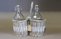 Woven double basket bottle carrier