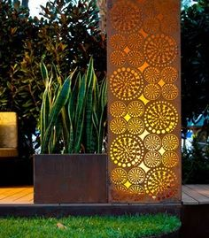 Laser cut corten steel / green home. My company fabricated a storefront recently in NYC using Corten steel panels. Garden Show, Dream Garden, Cut Garden, Landscape Lighting, Outdoor Lighting, Fence Lighting, Lighting Ideas, Laser Cut Screens, Garden Screening