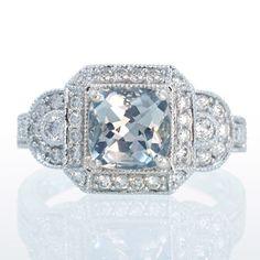 14k 1 75ct White Gold Cushion Aquamarine Diamond Halo Engagement Ring 7mm Center   eBay