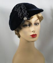 Vintage 1950s Hat Navy Blue Velvet Ribbon and Rhinestone Asymmetrical Beret Sz 22.5 http://www.rubylane.com/item/271914-cm-4800/Vintage-1950s-Hat-Navy-Blue