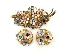 Vintage Czech Brooch Set Pin with Screw Back Earrings Rhinestone and Enamel Czech Glass