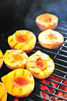 Grilled Peaches with Honey & Vanilla Ice Cream   Ingredients:    peaches, halved with pit removed  vanilla ice cream (optional)  honey to drizzle  Instructions  Heat grilled to about 350 degrees Fahrenheit.  Place peaches on grill flesh side down for 4 to 5 minutes.  Flip for an addition 4 to 5 minutes.  Remove and serve warm with a scoop of vanilla ice cream.  Drizzle with honey.
