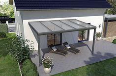 Terrassenüberdachung 4m x 2m mit Unterkonstruktion aus pulverbeschichtetem Aluminium,  vorbereitet  für Glas    Mit dieser exklusiven Aluminium-Terrassenüberdachung - Made in Germany - können Sie zu jeder Jahreszeit Ihren Garten...