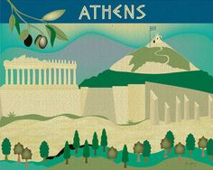 Athens, Greece Skyline - European City Wall Art Print  - for Gift, Home, Office, Nursery style E8-O-ATH via Etsy