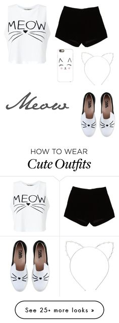 """""""Cat Outfit"""" by softballgirl011 on Polyvore featuring Miss Selfridge, Cara, Karl Lagerfeld, Casetify and Andrew Gn"""