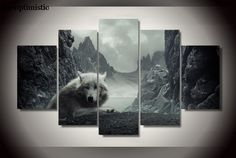 5 Panels HD Printed Wolf Painting Canvas Print Room decor print poster Picture Canvas freeoptimistic Wall art P0703