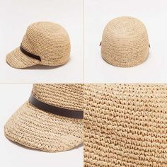 春夏新作 ラフィアジョッキーキャップ ラフィア素材 ジョッキーキャップ 麦わら帽子 ハット 帽子 ストローハット[093514] 3 Crochet Accessories, Women's Accessories, Knitted Hats, Crochet Hats, Raffia Hat, Summer Hats, Sun Hats, Hats For Women, Little Girls
