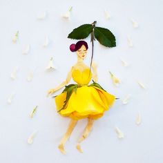 Lim Zhi Wei, aka Limzy, is a Singapore-based artist who creates a series of exquisite artworks using flower petals and a bit of drawing. Art Floral, Real Flowers, Beautiful Flowers, Illustration Blume, Pressed Flower Art, Dancing In The Rain, Small Art, Flower Fashion, Dress Fashion
