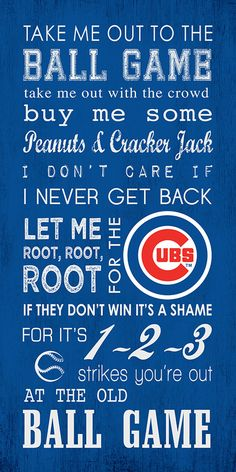 Chicago Cubs Take Me Out To The Ball Game 10x20 Subway Art Gallery Wrap
