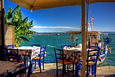 Waterfront Taverna in Katakolon Greece.