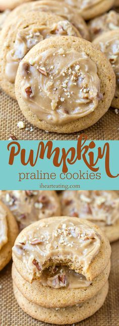 Pumpkin Praline Cookies are soft and tender pumpkin spice cookies that are topped with brown sugar praline frosting. Great pumpkin dessert recipe!