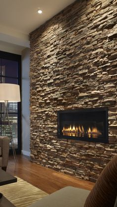 Ventless fireplace + El Dorado stone = perfection Inset Fireplace, Stone Fireplace Wall, Stone Fireplace Designs, Stacked Stone Fireplaces, Modern Fireplace, Fireplace Ideas, Wall Fireplaces, Fireplace Bookcase, Mounted Fireplace