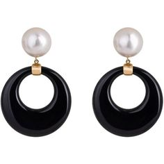 Preowned Onyx And Mabe Pearl Gold Dangle Earrings (35.525 RON) ❤ liked on Polyvore featuring jewelry, earrings, black, dangle earrings, long pearl earrings, earring jewelry, long post earrings, 18k gold earrings and yellow gold earrings