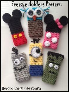 Free, Cute little Freezie Holders Pattern Crochet Cozy, Quick Crochet, Crochet Cushions, Crochet Gifts, Crochet For Kids, Granny Square Crochet Pattern, Crochet Motif, Crochet Patterns, Frozen Crochet