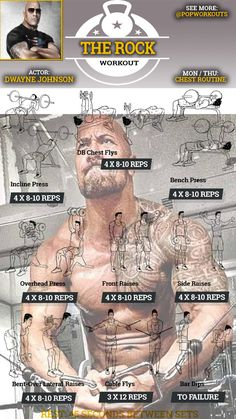 The Dwayne Johnson chest workout builds The Rock's massive upper body. Johnson… The Dwayne Johnson chest workout builds The Rock's massive upper body. Johnson detailed his workout routine for the movie Pain & Gain. Fitness Workouts, Pop Workouts, Chest Workouts, Workout Routines, Fitness Foods, Chest And Bicep Workout, Best Chest Workout, Bike Workouts, Swimming Workouts