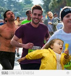 Will someone tell that little girl in the yellow this is a marathon not 'the relay'?