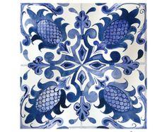 Blue Talavera Tile Art, Moroccan Tile Print, Mexican Tile Drawing, Print Of Blue Tile, Mexican Home Decor Tuile, Portuguese Tiles, Portuguese Culture, Image Painting, Blue Tiles, Tile Art, Tile Patterns, Islamic Patterns, Tile Design