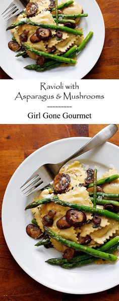 A pasta dish that will ward off the take-out temptation! pasta mushroom Ravioli with Asparagus and Mushrooms Pasta Recipes, Dinner Recipes, Cooking Recipes, Ravioli Dinner Ideas, Dinner Entrees, Asparagus And Mushrooms, Stuffed Mushrooms, Meals With Mushrooms, Asparagus Pasta