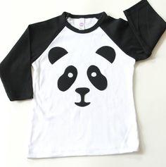 Panda Raglan T Shirt Black and White Boys Girls