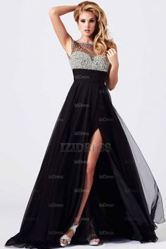 A-Line/Princess Bateau Floor-length Chiffon Prom Dresses - IZIDRESSES.com at IZIDRESSES.com
