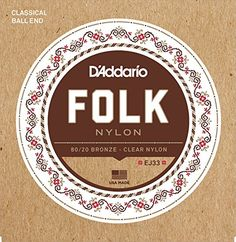 DAddario EJ33 Folk Nylon Guitar Strings Ball End 8020 BronzeClear Nylon Trebles ** You can find more details by visiting the image link.(It is Amazon affiliate link) #vegas