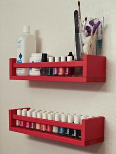 Use spice jars holders to keep nail polish and other beauty supplies within easy reach in your bathroom.                                                                                                                                                                                 More