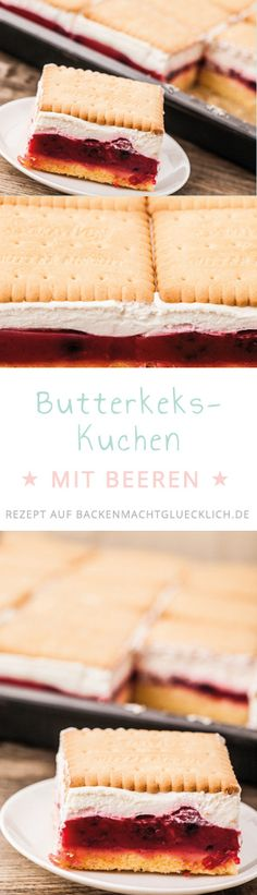 Der perfekte Sommerkuchen – Butterkekskuchen mit Beeren The perfect summer cake – butter biscuit cake with berries Sweet Recipes, Cake Recipes, Snack Recipes, Vegan Recipes, Dessert Recipes, Shortbread Cake, Cake Vegan, Summer Cakes, Summer Desserts