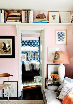 [Interesting wall texture. I like the color too, and the smart use of storage space.]  Tips for small living rooms