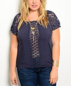Look what I found on #zulily! Navy Lace-Back Cap-Sleeve Tee - Plus #zulilyfinds