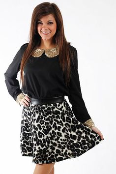 """Cheetah Skater Skirt, Blk/Gray $36.00 We are wild about this skirt! The funky cheetah print is such a fun addition to your wardrobe but the colors will match so many things! This skirt drapes beautifully for a flattering fit, and we love the leatherette waistband!   Fits true to size. Miranda is wearing a small.   From waistband to hem:  Small - 16""""  Medium - 16.5""""  Large - 17"""" Going Out Outfits, Cute Outfits, Cheetah Skirt, Mint Julep Boutique, Virtual Closet, Skater Skirt, Sequin Skirt, Gray, Medium"""