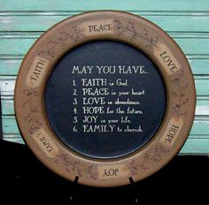 May You Have Faith, Peace, Love...Tag Plate-Faith Family Friends Plate,Country Primitive Home Decor,Faith Hope Love Plate,Tag Plate,Country ...