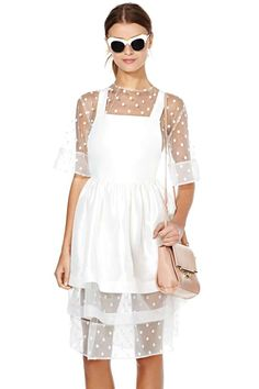 To Be Adored Mathilde Dress /  It has a silk pinafore shell with dotted tulle and gauze layers.
