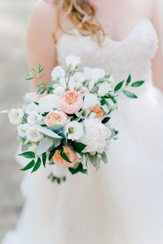White and peach bouquet: http://www.stylemepretty.com/2014/10/10/classic-summer-provence-wedding/ | Photography: Nadia Meli - http://www.nadiameli.com