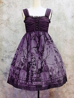 purple cemetery dress pretty for a guest at a Halloween event