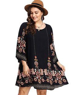 60b30268ef5 Romwe Women s Plus Size Boho Bohemian Tribal Print Summer Beach Dress Black  2XL Maxi Dresses