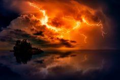 Sunset, Dusk, Lightning, Storm, Weather, Bolts