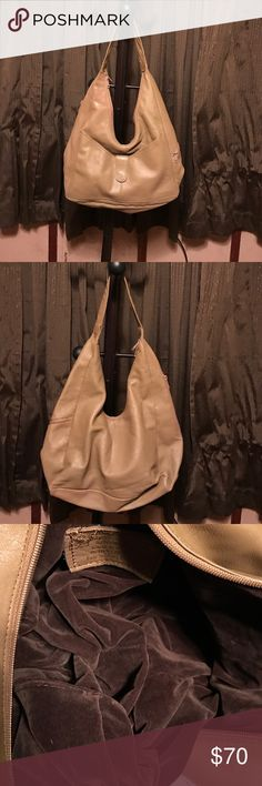 Vintage leather purse Tan leather, brown velvet inside. Luxurious purse! Really nice! I can't read the label very well, so I don't know who the maker is. Bags Hobos